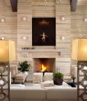 Wooden Wall Panel Wooden Fireplace White Sofa